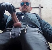Leather Officer GERMANE_XL is getting horny in an unobserved backyard. After showing off in his...