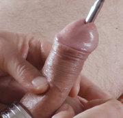 A 4 minute clip of a solo male urethral sounding session using the Dittle number 28. I
