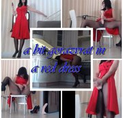 swearing in a red dress with a big dick in seamless tights. #pantyhose #Squirt