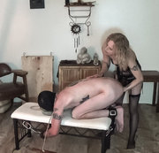 Mistress Quinn fucks up her sissy bitch boy.She beats his ass and balls with her bare hands,a meat...