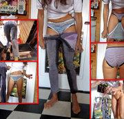 Piss-Striptease in Stretch-Jeans, Plastikslip, Slip + Pumps