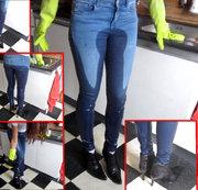Piss beim Geschirrspülen - in Jeans + Stiefeletten