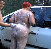 Sexy Lesben, waschen Auto 2
