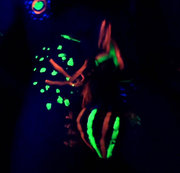 Kerl mit Leuchtfarbe bemalt