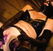 Latex Danielle in latex mask hot play with purple bunny rabbit