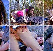 Fucking a cute young brunette teen at the beach