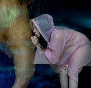 Blowjob with cumshot in rain coats (rainwear)