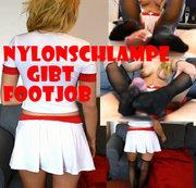 Nylonschlampe gibt Footjob! 1.Teil