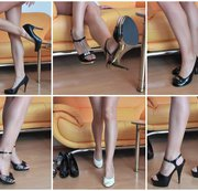6 Paar Heels in Nylonstrumpfhose