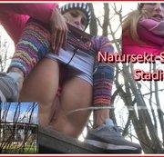 Heftiger Natursekt-Strahl am Stadion