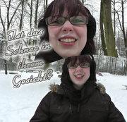 Ist das Schnee in ihrem Gesicht?