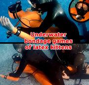 Underwater bondage games of latex kittens