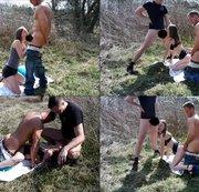 geile milf wird von 2 jungen hengsten outdoor durchgefickt. hammer