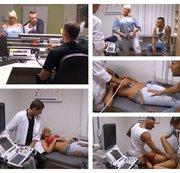Arzt fickt mit schwangerer Patienten und ihr Freund guckt zu wie der Arzt sie durchfickt ohne Gummi