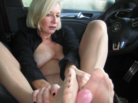 Nylon footjob in car