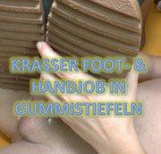 Krasser Foot und Handjob in Gummistiefeln