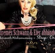 Extremes Schwanz & Eier abbinden +Stap on + dominante Wichsanweisung!  | by Lady_Demona
