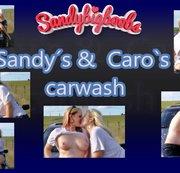 Sandy und Caro beim Auto waschen