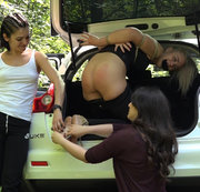 Double Tickling torment for Helga in car