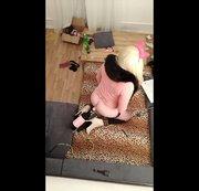 Crossdresser sissy anal plugged loves to ride her new fuckin machine