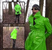 Handcuffed in black waders and shiny raincoat