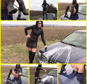 Leather milf on the hood car... pissing, scratching and whipped cream