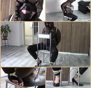 My amateur bondage, June 10, 2019: Chair bound in Ber*ans jacket