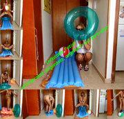 Inflatable Fetish: Luftmatratze eingenässt, angefurzt, und zertreten