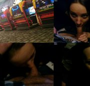 Blowjob & Facial Behind Videospiel In Public Arcade!