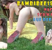 Teeny BambiBee18: Nackt und schwanzgeil auf der Wiese!