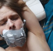 Tied gagged twink used by horny hunk