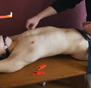 Smooth twink BDSM session with candle wax