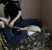 Tied teen lad used by horny neighbour