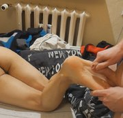 Footjob in white socks and bare feet