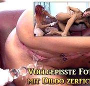 Vollgepisste Fotze mit Dildo zerfickt!