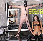 Die Lady quält einen neuen  Sklaven! Zu seinen  Intimpiercings  werden ihm Gewichte  angehängt!