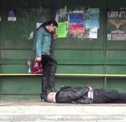 8 YEARS IN FEMDOM MARRIAGE :PUBLIC BOOTS DOMINATION IN A BUS STOP
