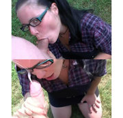 Outdoor Blowjob mit Gesichtsbesamung