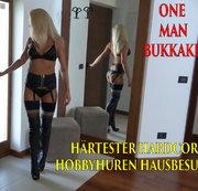 H�rtester Hardcore Hobbyhuren Hausbesuch!!! Gebuchte Straps-Stiefel-Schlampe bekommt OneManBukkake!