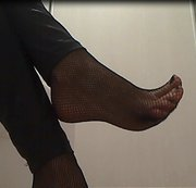 My feet in fishnets