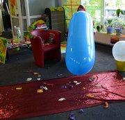 Riesenballon nach viel eigener Luft am Mund geplatzt !