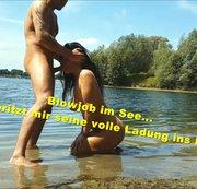 Blowjob im See und auf der Decke in den Mund gespritzt