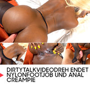 Dirtytalkvideodreh endet in Nylonfootjob und Anal Creampie