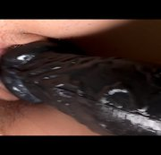Huge black inflatable vibrator deep inside me