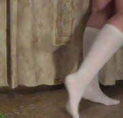 Feets , calf muscle and walking on toes fetishes in knee high white socks