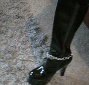 Crotch High Patent Leather Platform Boots on English Milf