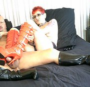 Fetish Red Leather Boots Tattoo Milf