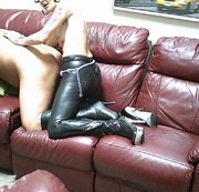 Tattooed Sissy in Boots Ass Fucked By PVC Bitch