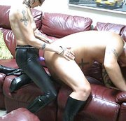 Anal Fucking My Sissy Slave in PVC and Boots