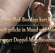 SM-Teeny Amanda Jane mit Red-Bondage gefesselt von 2 Schwänzen benutzt mit Mundbesamung